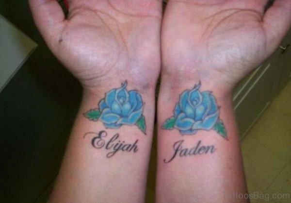 Sky Blue Rose Wrist Tattoo