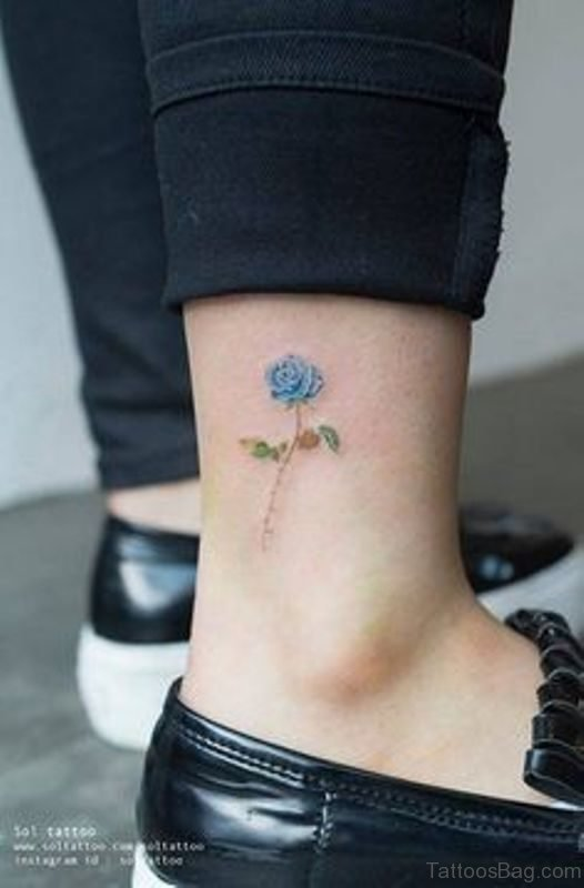 Small Blue Rose Ankle Tattoo