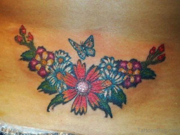 Small Butterfly And Flower Tattoo