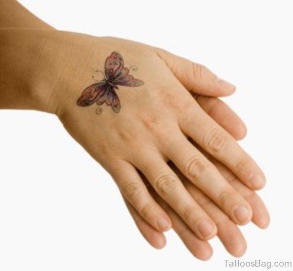 Small Butterfly Tattoo On Hand
