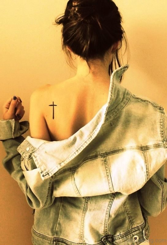Small Cross Tattoo On Back Shoulder