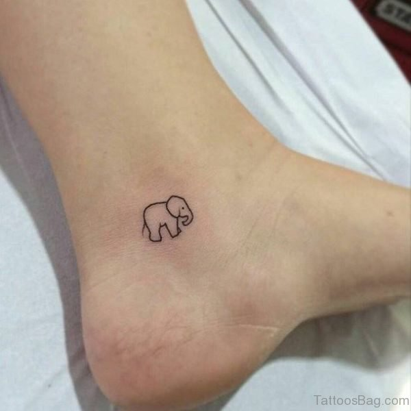 Small Elephant Tattoo On Ankle