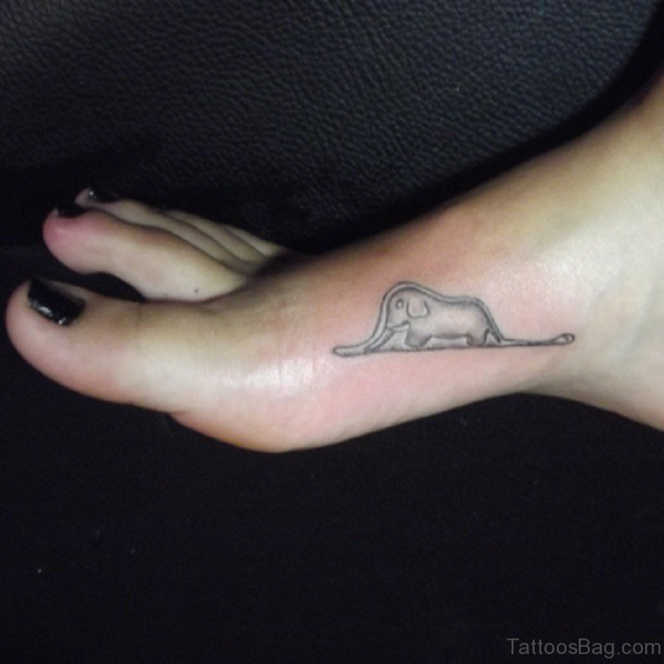 Small Elephant Tattoo On Foot
