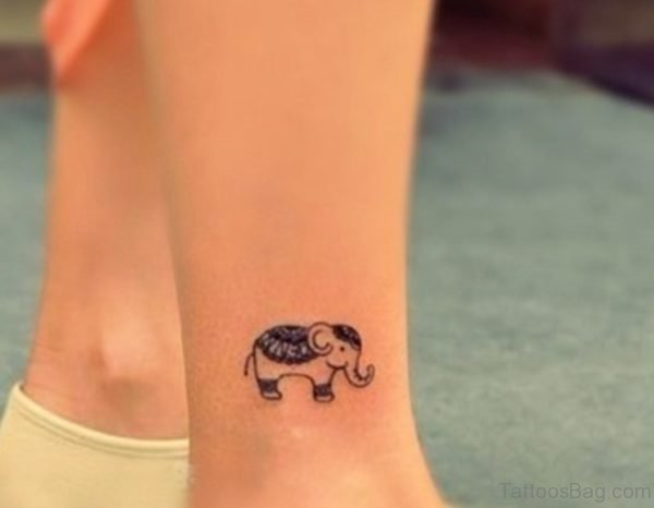 Small Elephant Tattoo On Leg
