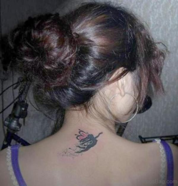 Small Guardian Angel Tattoo On Nape