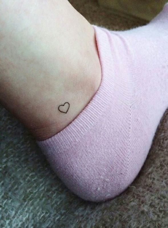 Small Heart Tattoo On Ankle