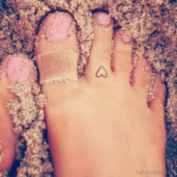 Small Heart Tattoo On Foot