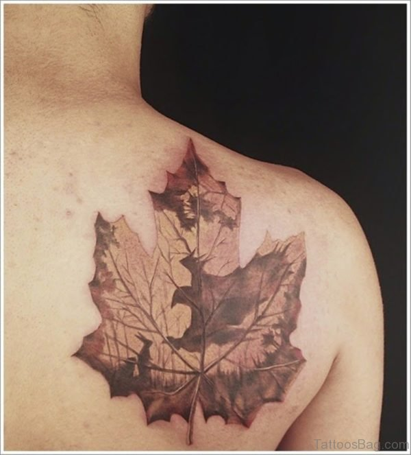 Small Leaf Tattoo On Girls Shoulder