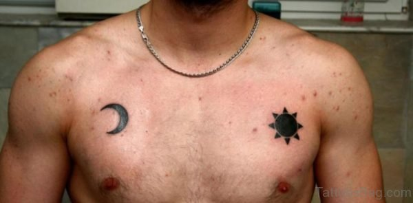 Small Moon And Sun Tattoo