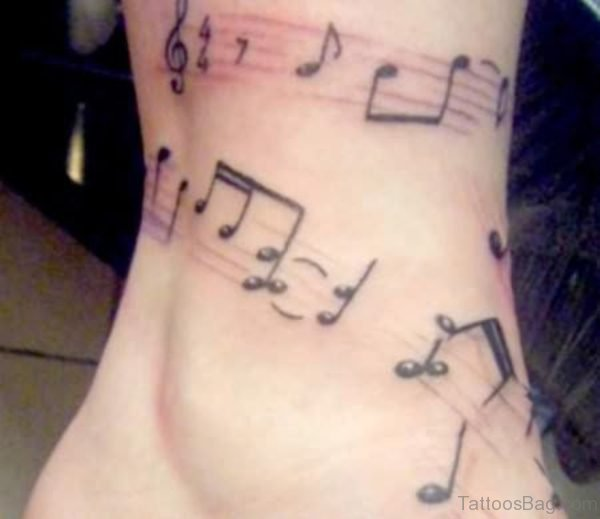 Small Music Tattoo On Ankle