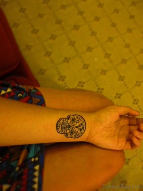 Small Sugar Skull Tattoo On Wrist