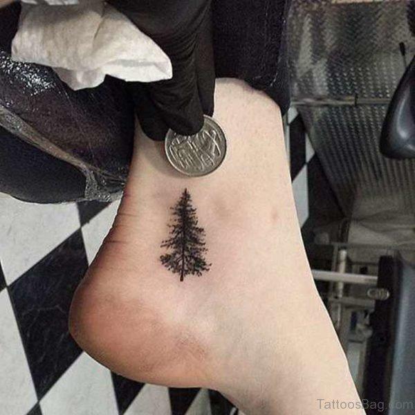 Small Tree Foot Tattoo