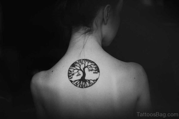 Small Tree Of Life Circle Tattoo On Upper Back