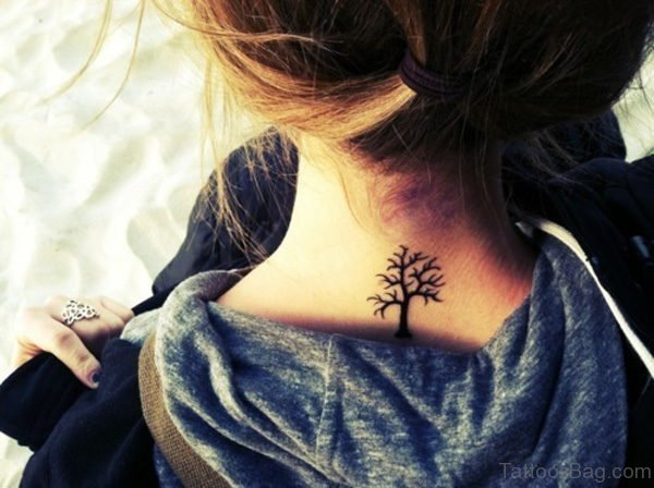 Small Tree Tattoo On Back Neck