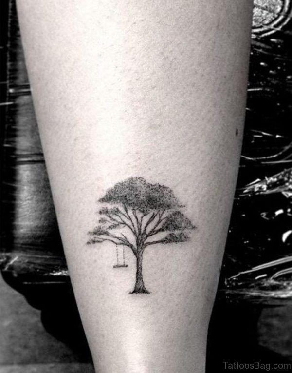 Small Tree Tattoo On Leg