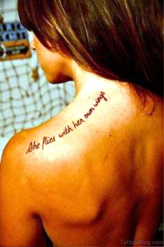 Small Wording Tattoo On Back Shoulder