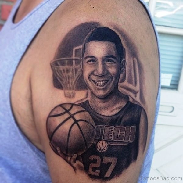 Smiling Player With Basketball Tattoo