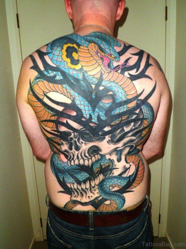 Snake With Skull Tattoo On Back