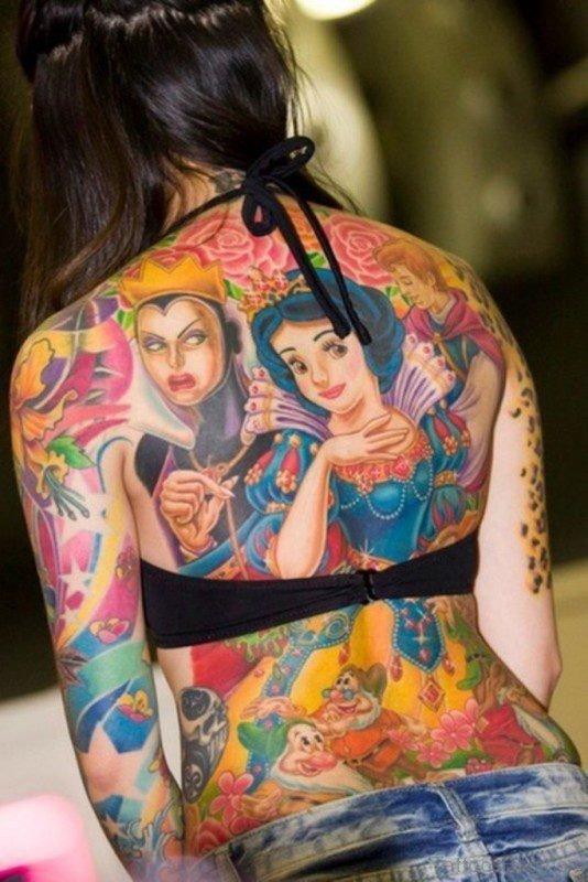 Snow White Tattoo On Back