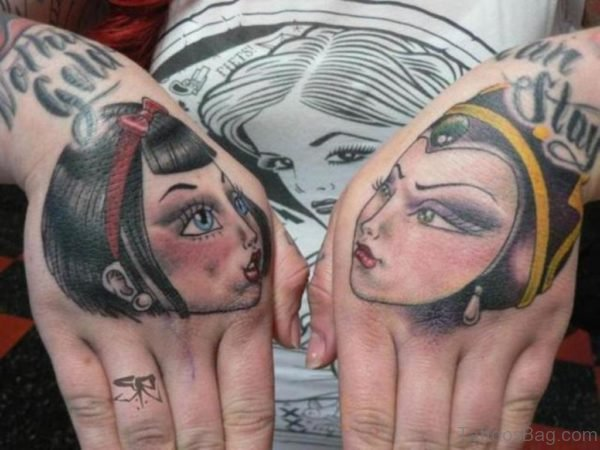 Snow White Tattoo On Hand
