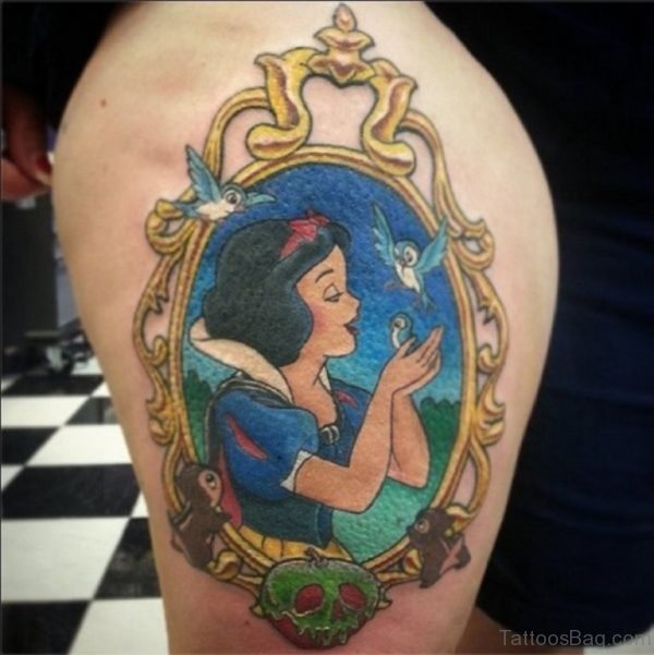 Snow White Tattoo On Thigh