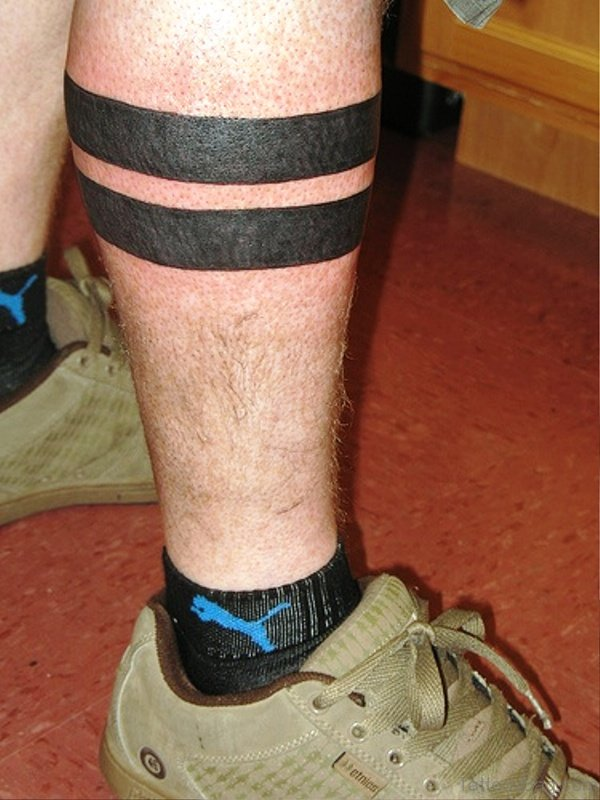 Solid Band Tattoo On Leg