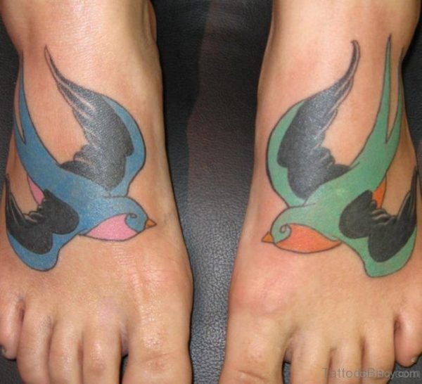 Sparrow Tattoo Design On Foot