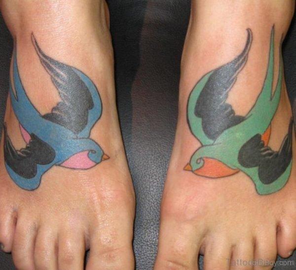 Sparrow Tattoo Design On Foot