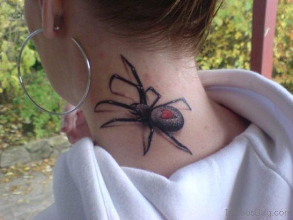 Spider Tattoo On Neck