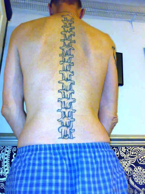 Spine Skeleton Tattoo On Back