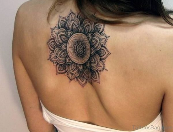 Spiritual Mandala Flower Tattoo On Upper Back