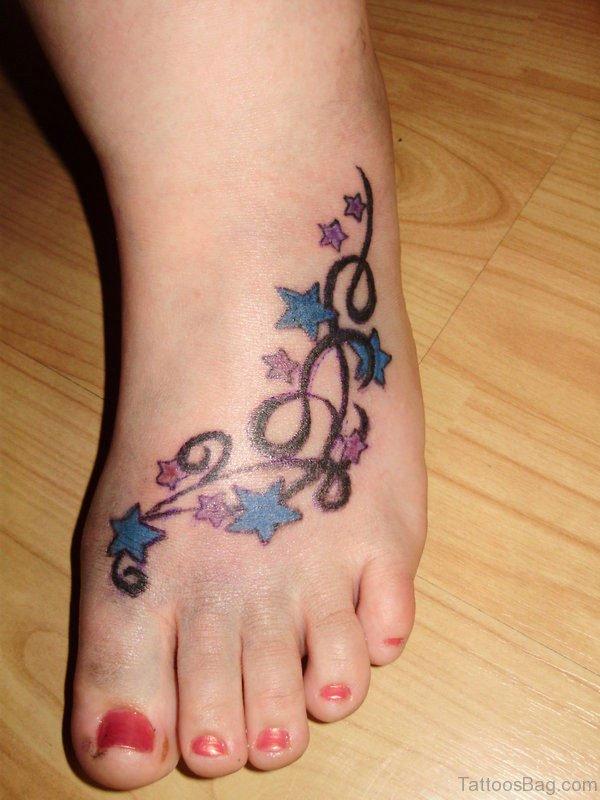 Star Tattoo Design On Foot