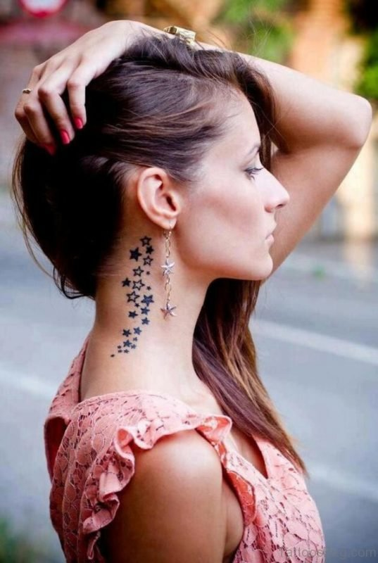 Star Tattoo Design On Neck