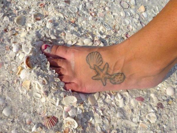 Starfish Tattoo On Foot
