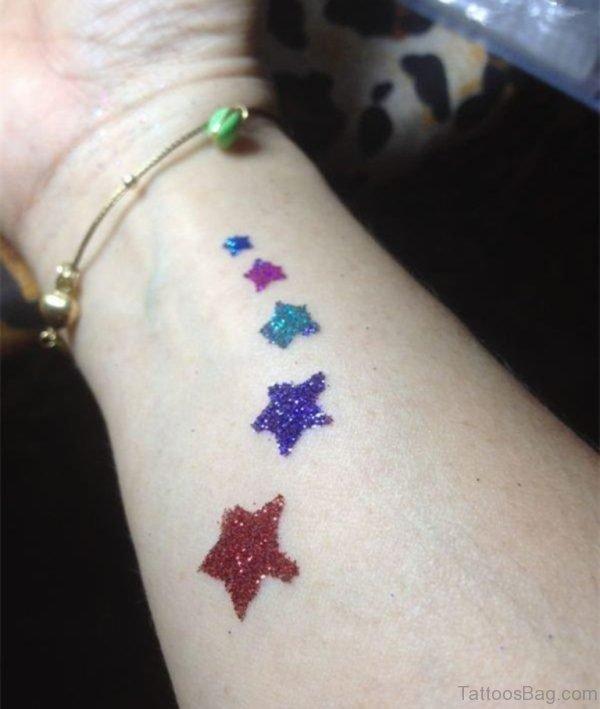 Stars Glitter Tattoo On Wrist