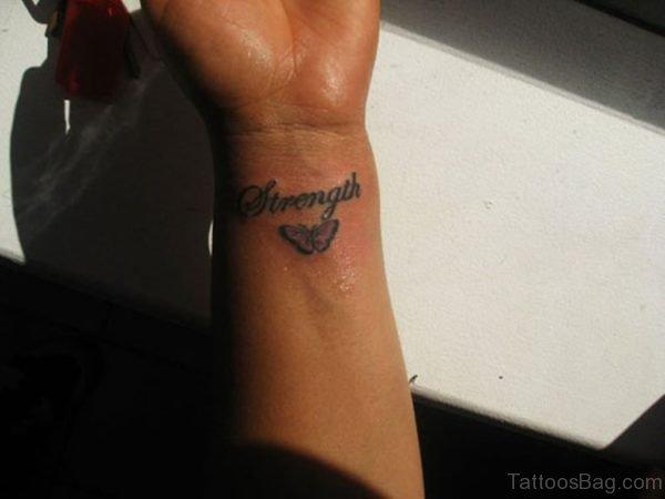 Strength Tattoo On Wrist