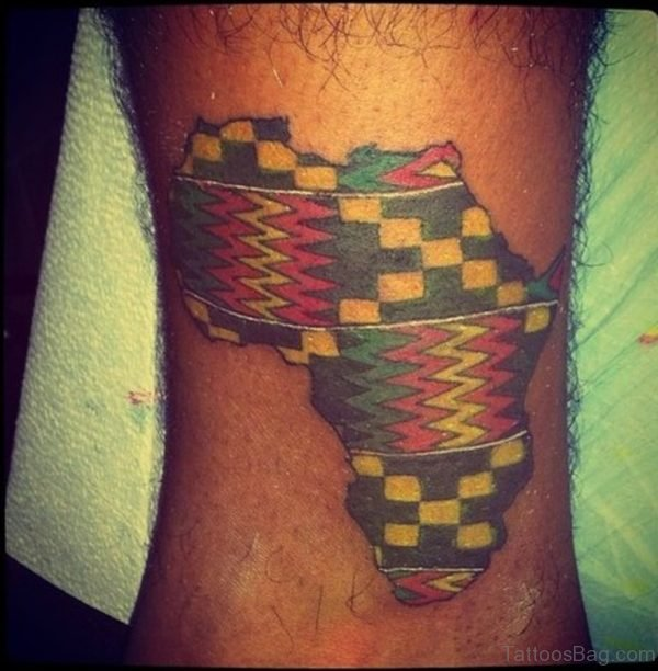 Stunning African Map Tattoo On Ankle