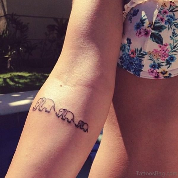 Stunnig Three Elephant Tattoo On Forearm