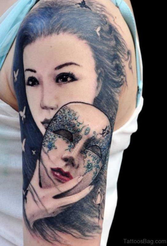 Stunnign Venetian Mask Tattoo