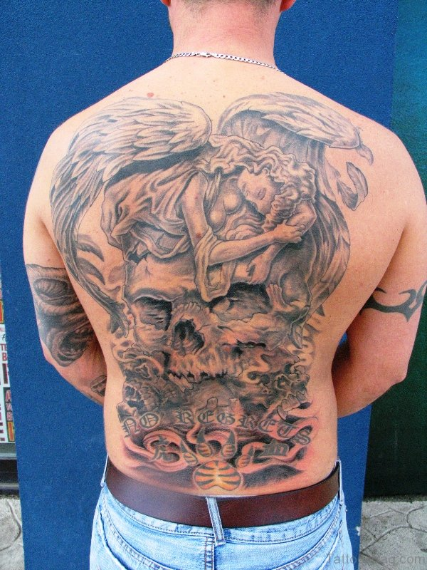 Stunning Archangel Tattoo On Back