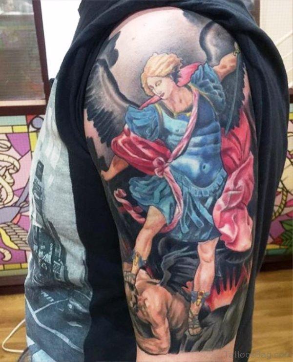 Stunning Archangel Tattoo On Shoulder