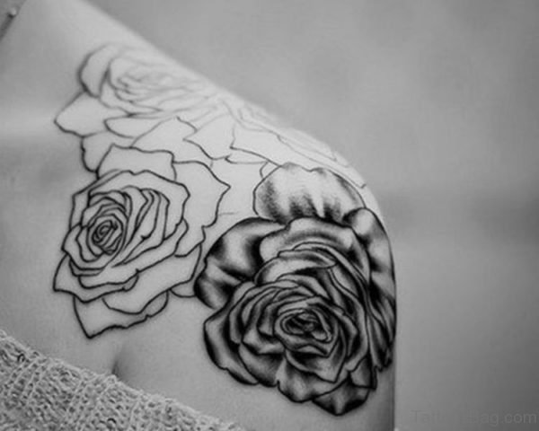 Stunning Black And White Rose Tattoo
