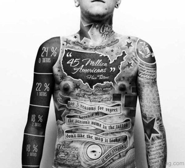 Stunning Black Tattoo On Chest