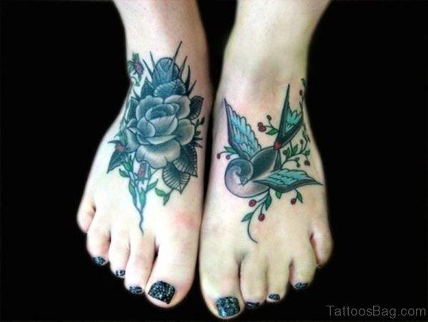 Stunning Blue Rose Foot Tattoo