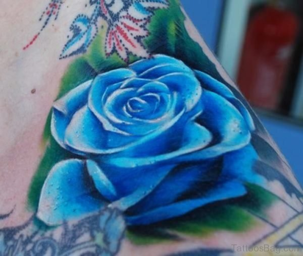 Stunning Blue Rose Shoulder Tattoo
