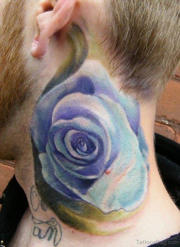 Stunning Blue Rose Tattoo On Neck