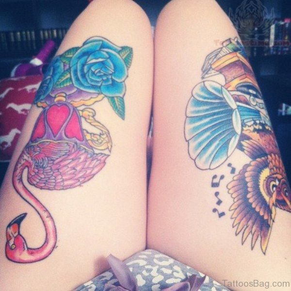 Stunning Blue Rose Thigh Tattoo