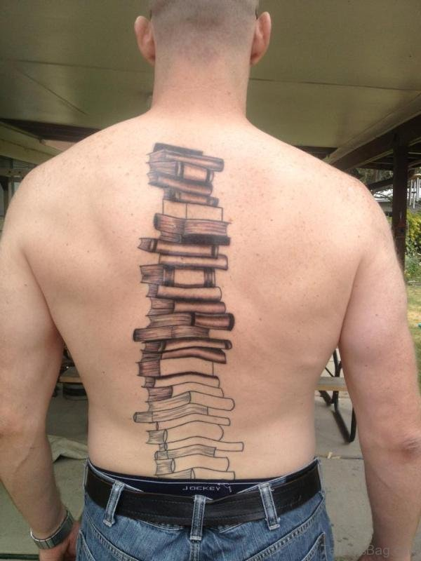 Stunning Book Tattoo On Back