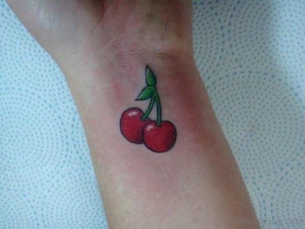 Stunning Cherry Tattoo On Wrist