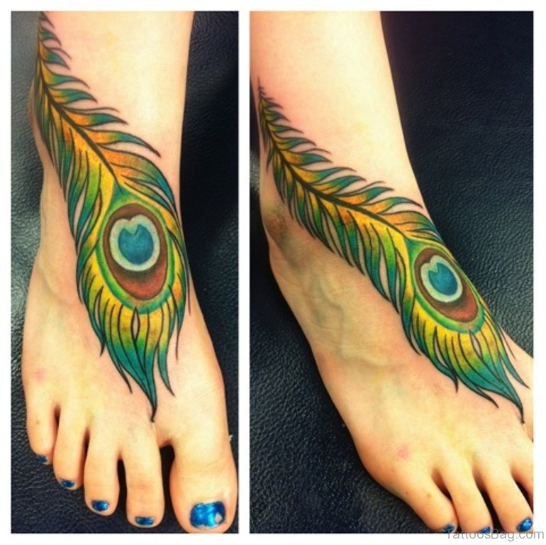 60 fabulous feather tattoos on foot for Feather on foot tattoo